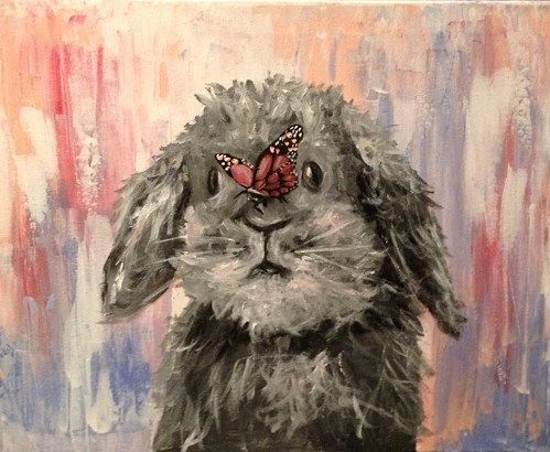 MADE TO ORDER 16x20 painting gray bunny with pink butterfly