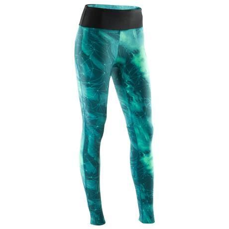 Legging YOGA+ 900 femme bleu / vert imprimé