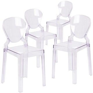 Flash Furniture Ghost Chair with Tear Back in Transparent Crystal