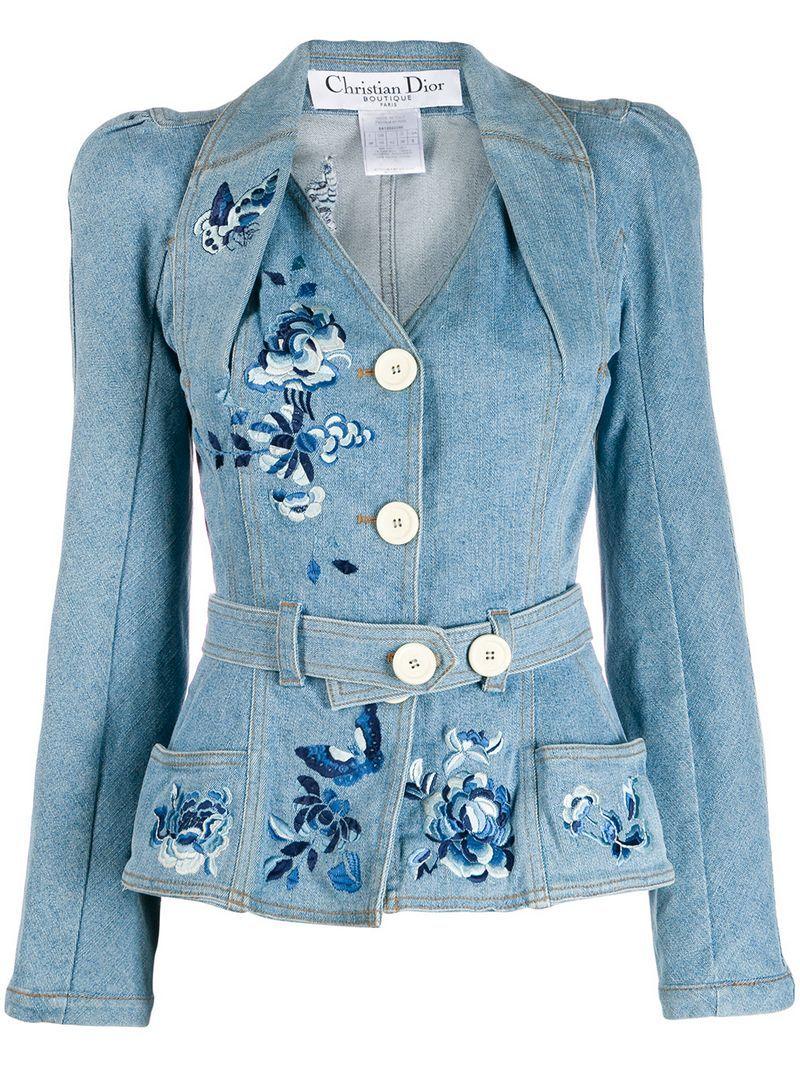 Christian Dior Pre Owned Belted Denim Jacket Farfetch Embroidered Denim Vintage Jacket Denim Fashion [ 1067 x 800 Pixel ]