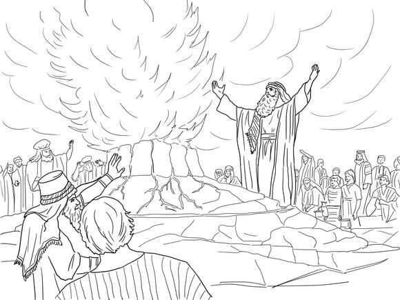 Elijah Called Down Fire From Heaven Coloring Page Bible Themed