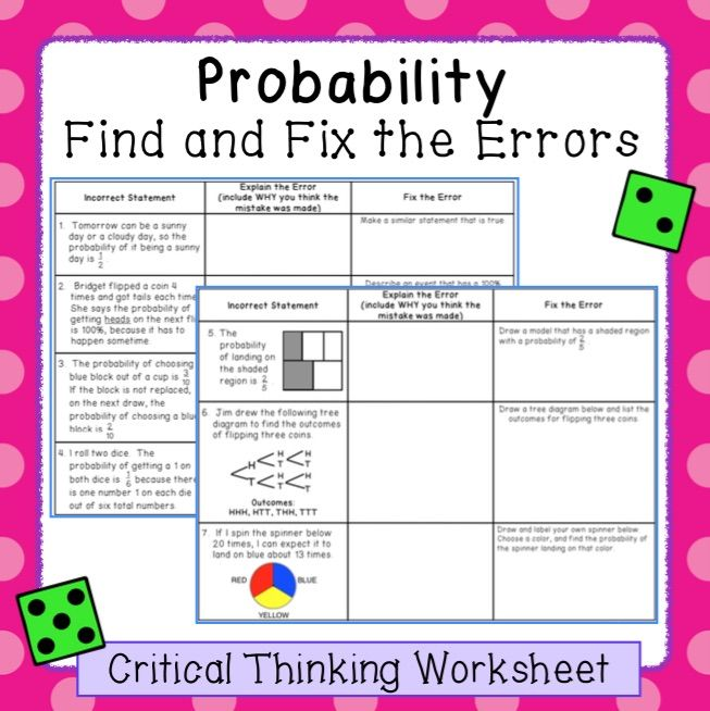 Probability Find And Fix The Errors Worksheet 7 Sp 5 And 7 Sp 6 Probability Teaching Math Math Lessons Theoretical probability worksheet with answers