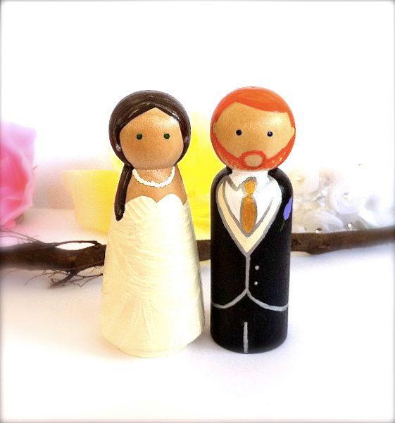 Fully Custom Wedding Cake Toppers Large Size Wood Peg Dolls Bride ...