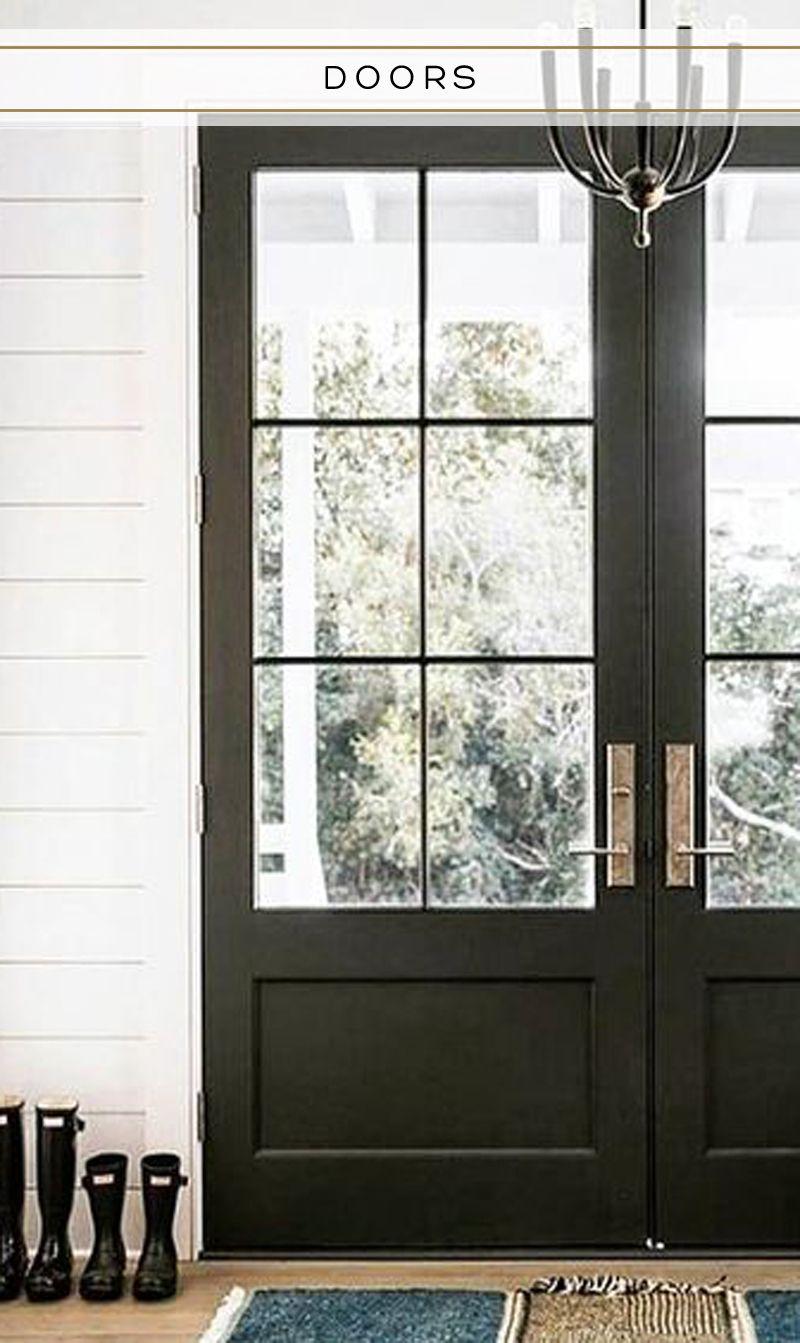 Glass Front Doors Black Front Doors Double Front Doors Shiplap Entryway Double Front Doors Exterior Doors With Glass Double Front Entry Doors