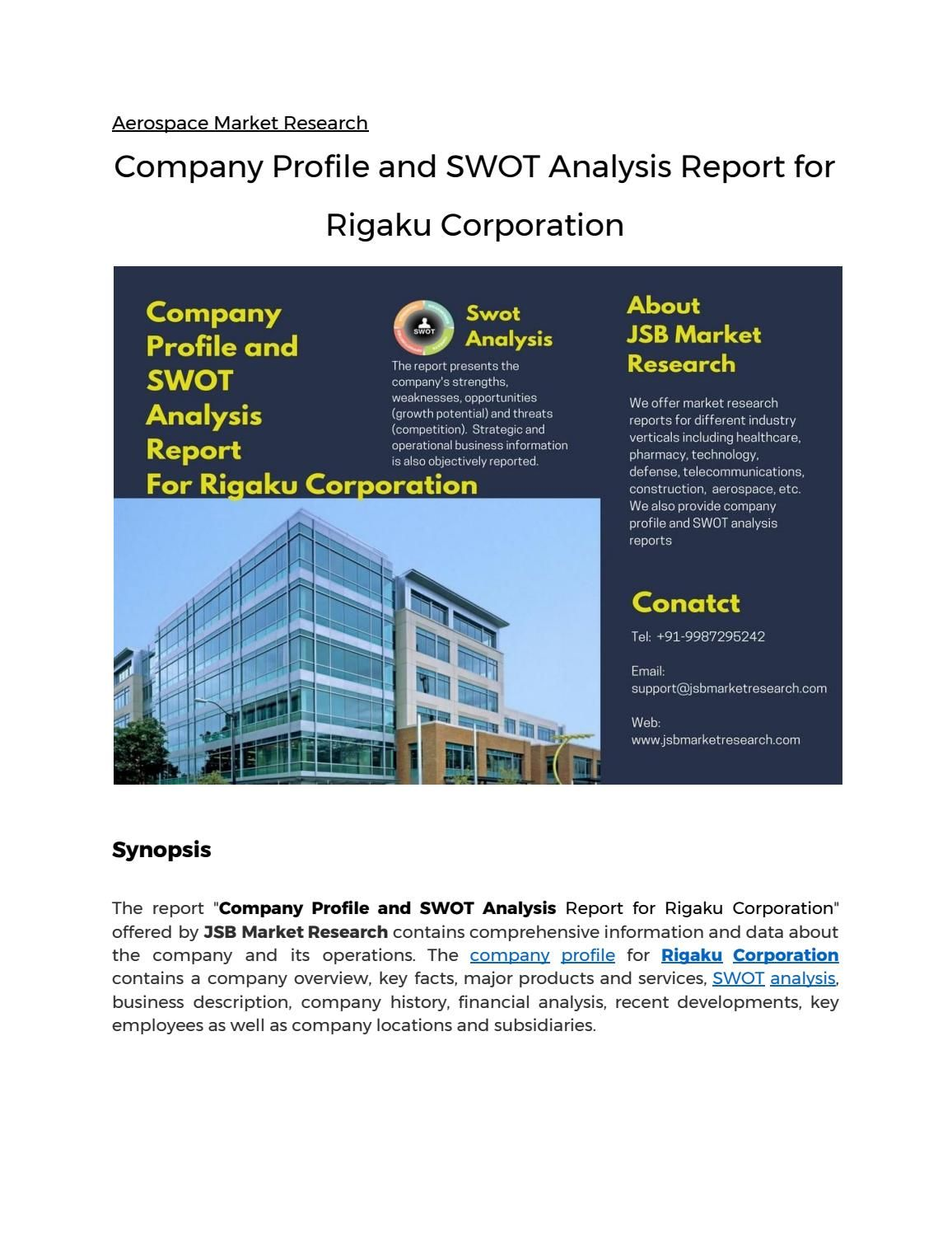 Company Profile And Swot Analysis Report For Rigaku Corporation