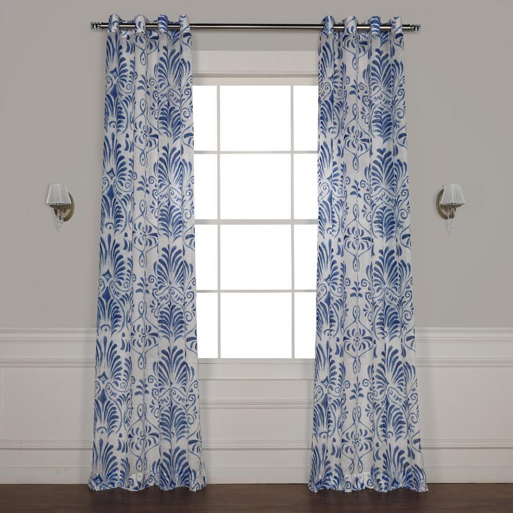 Exclusive Fabrics Furnishings Xenia Blue Grommet Printed Sheer