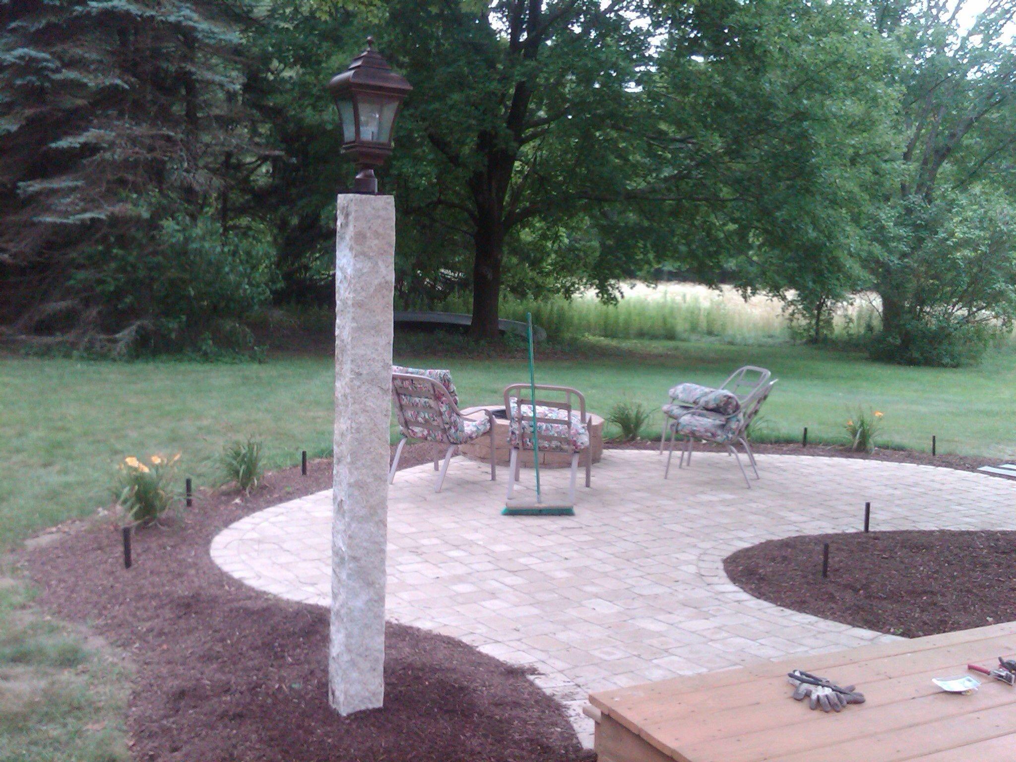 Granite light post with patio walkways walls and patios granite light post with patio mozeypictures Gallery