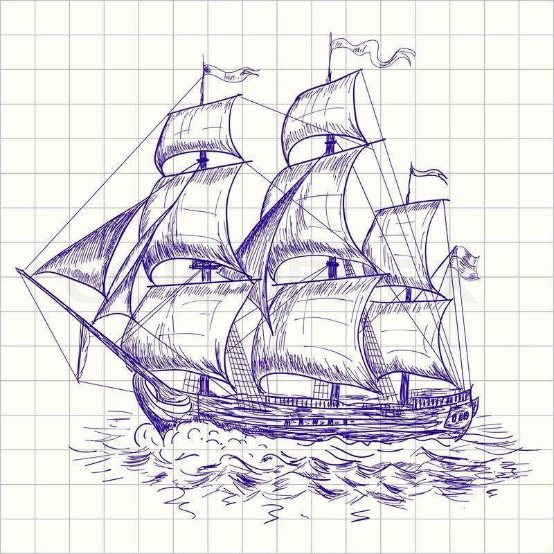 Stock-Vektor von 'zeichnen, Schiff, Boot'   Sailboat ...