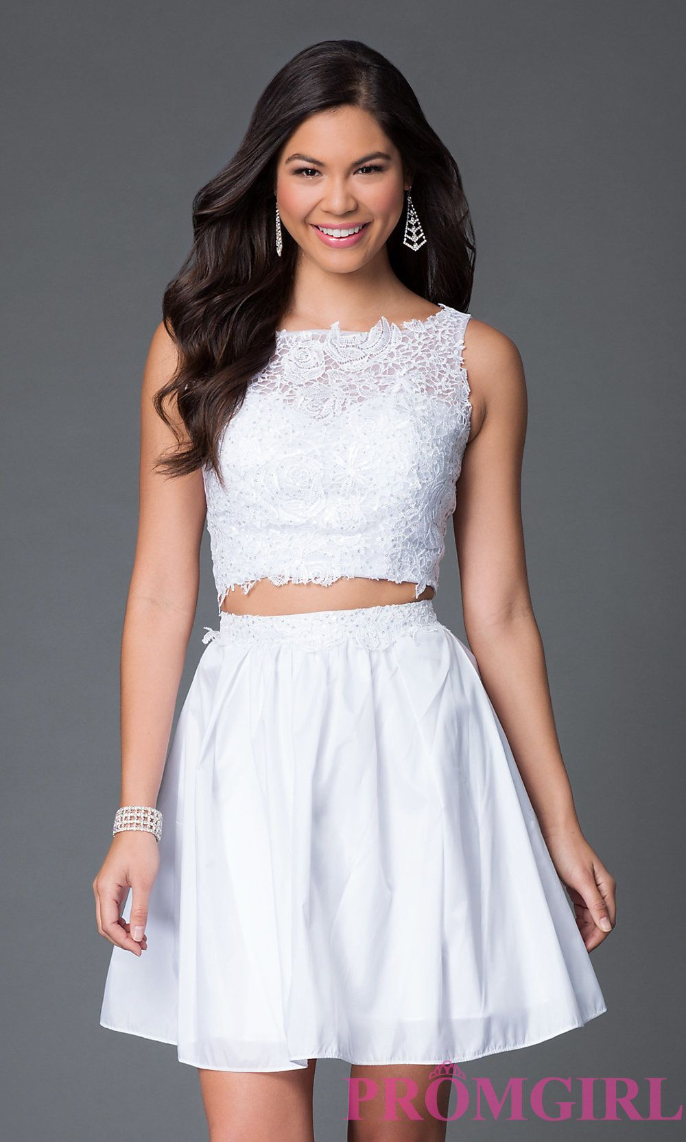 Lace top two piece short graduation dress style naw