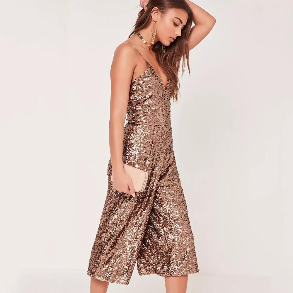 e80e66dfc8 Glitter Sequin Wide Leg Jumpsuit. This cool glittering golden brown  jumpsuit is a perfect and instant party ready outfit this season.