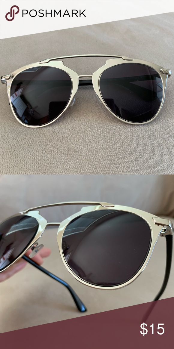 c6a4346905 Stylish Aviator Sunglasses Black lenses Metal Frame Vintage Style Aviators  Gloss Finish Non-Polarized Mirrored Lens 400UV Protection Worn once Scratch  free ...