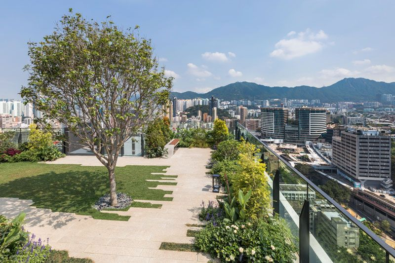 This Building In Hong Kong Has A Rooftop Park And Private Clubhouse Roof Garden Roof Garden Plan Rooftop Garden