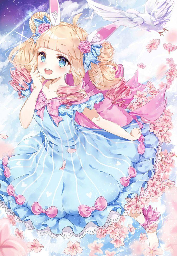 Chica anime vestido azul