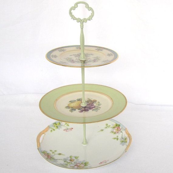 Vintage China 3 Tier Serving Plate Stand Shabby Chic Home Décor Shower Tray  sc 1 st  Pinterest & Vintage China 3 Tier Serving Plate Stand Shabby Chic Home Décor ...