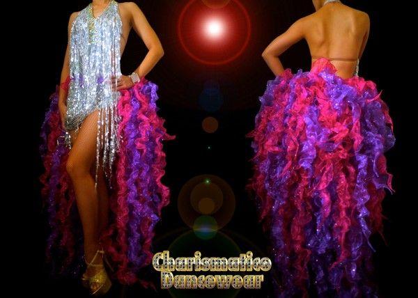 CHARISMATICO PURPLE Fuhsia BURLESQUE SHOWGIRL LATIN DANCE TAIL SKIRT DRESS