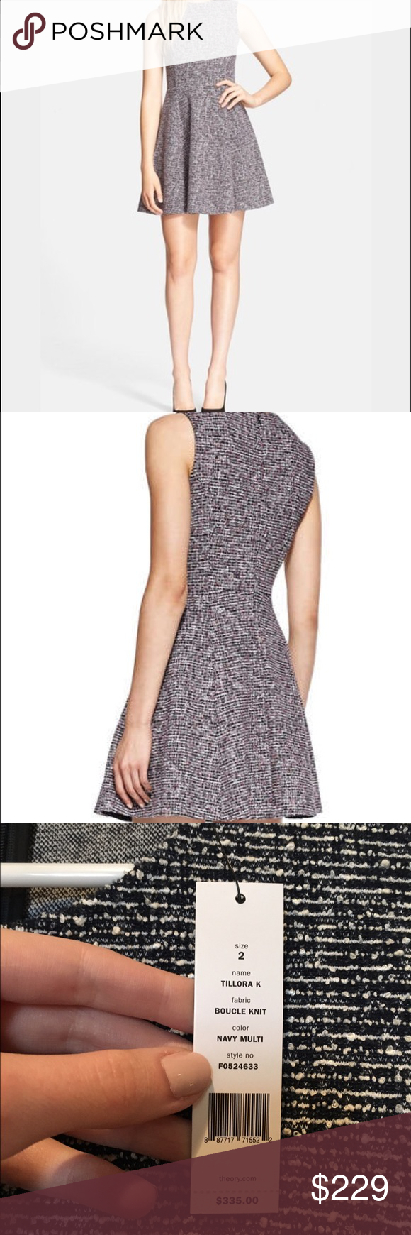 Tillora' Tweed Fit & Flare Dress Theory Tillora' Tweed Fit & Flare Dress. Retails $335. This texture-rich Theory dress has a seamless flared skirt. Crew neckline. Sleeveless. Hidden back zip. Unlined. New with Tags!   Fabric: Tweed-like knit. 75% cotton/12% polyamide/10% viscose/3% elastane. Dry clean. Made in the USA. Theory Dresses Mini