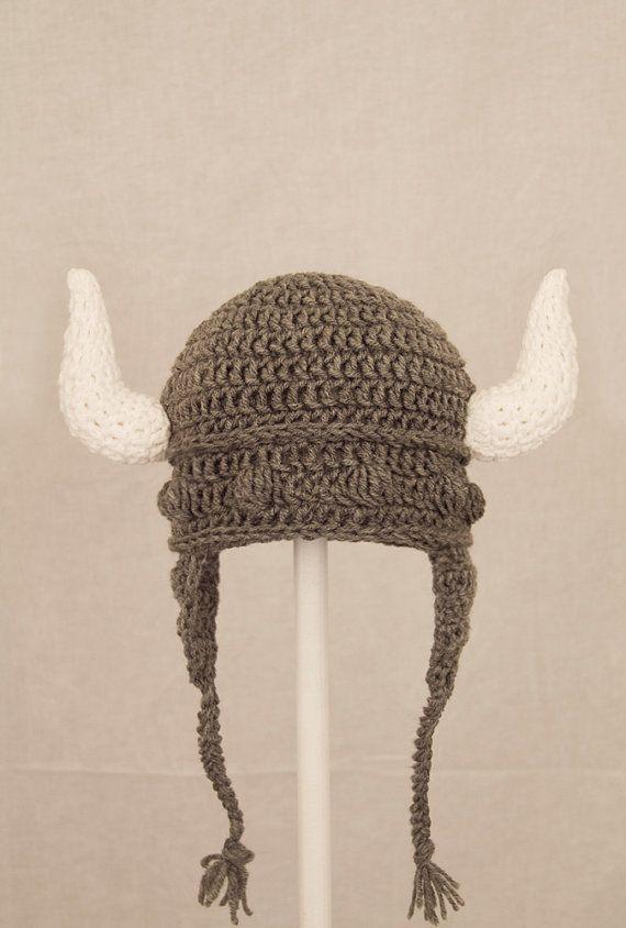 Viking Earflap Hat Grey Crochet Helmet RTS Ready to by GeekinOut ...