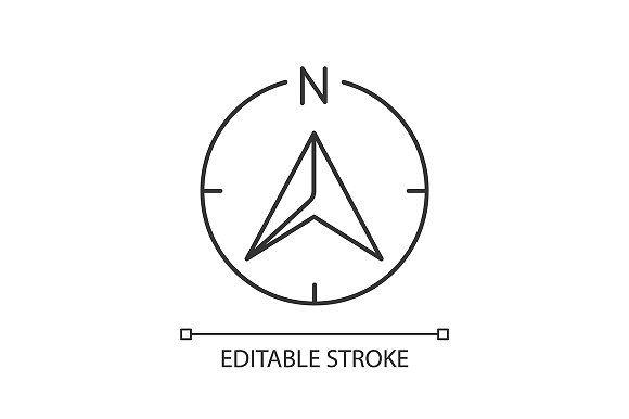 Navigator Arrow Linear Icon Compass Logo Location Icon Risograph Print