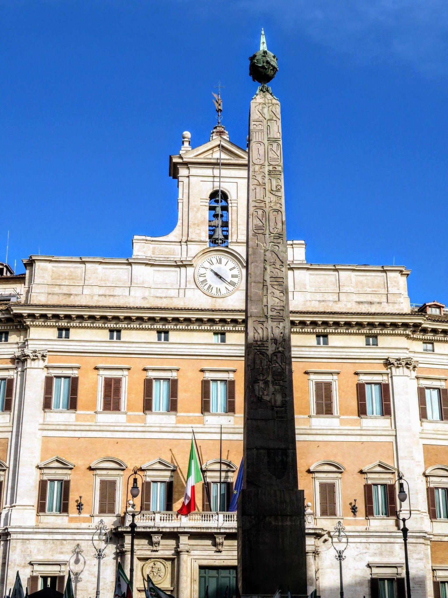 Ancient Egyptian Obelisk, Piazza Montecitorio, Rome. In