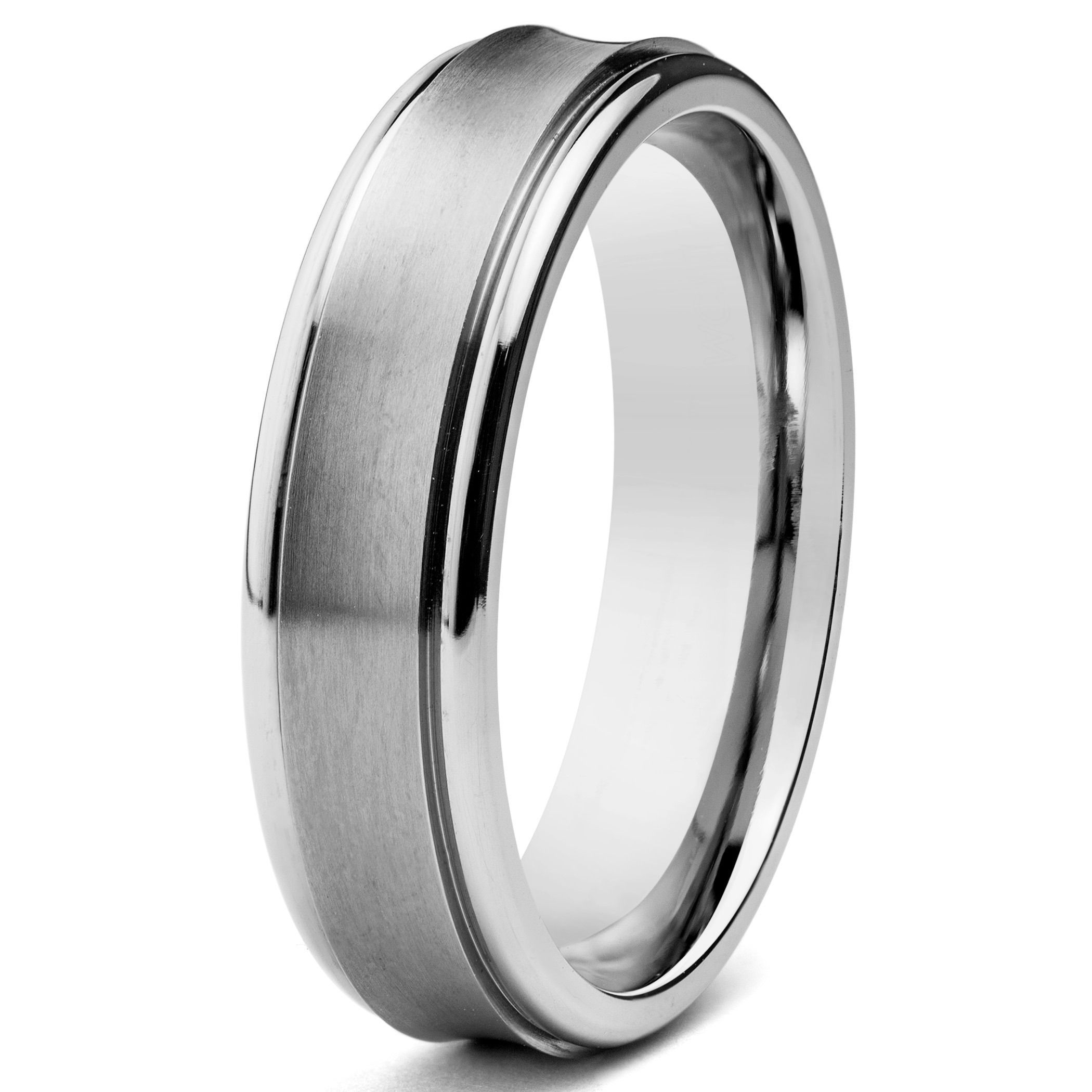 Fashioned In Durable Titanium This Men's Ring Features A Smooth Brushed Finish Center With Highly Polished Grooved Edges Has Fort Fit Design: Concave Brushed Wedding Band At Websimilar.org