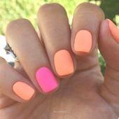 Perfecte zomernagels! Felle neon- en oranje matte nagels zijn absoluut nageltre …