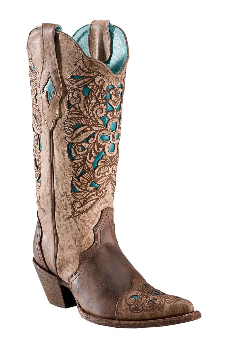 970e759c663e9 Corral Brown/Turquoise Laser Tooled Inlay Cowgirl Boots - CLEARANCE ...
