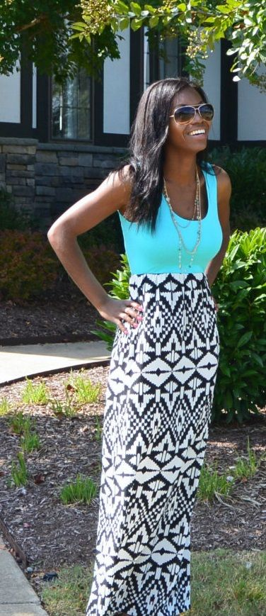 Aztec In Teal maxi get it now at Personality Boutique. Located in Tennessee. FREE SHIPPING!!! $46