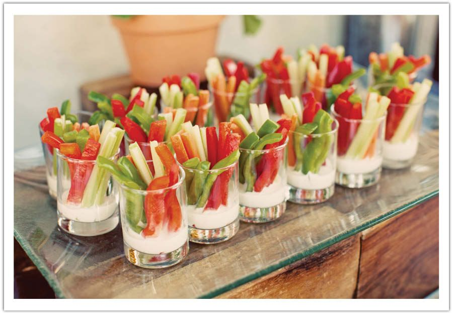 Mini Veggie Dip Shots Country Style Bbq Rehearsal Dinner By