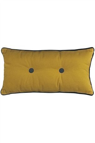 Ochre And Natural Woven Check Cushion