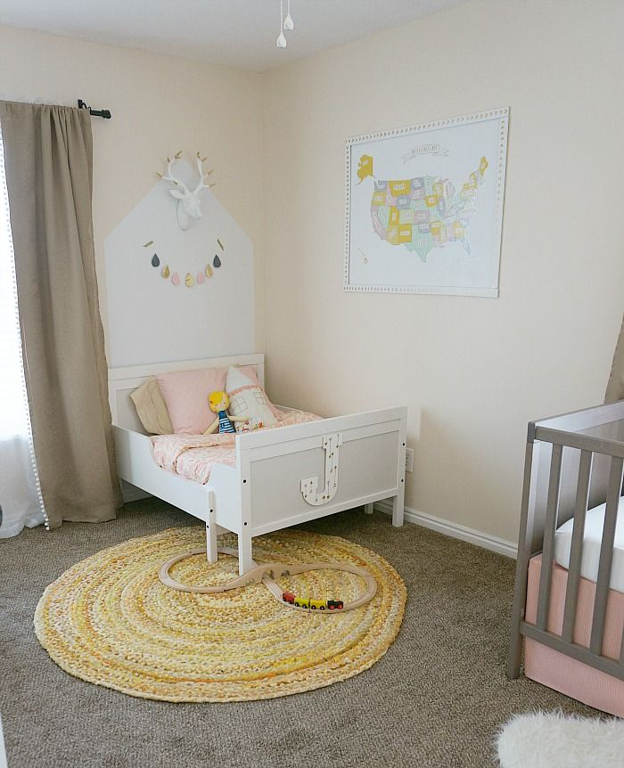Gold Accented Shared Girls Room Shared Girls