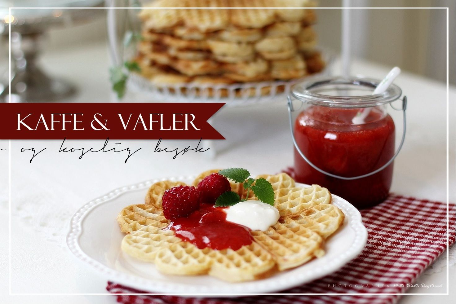 Waffles and homemade strawberry jam