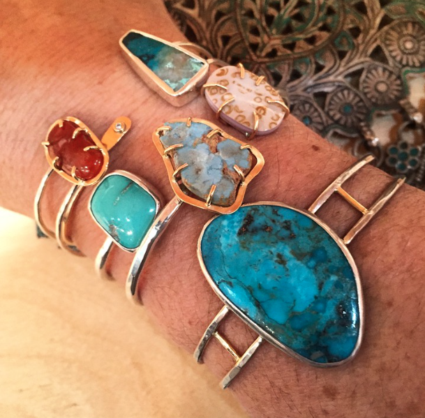 #Turquoise has been one of our favorites this season- once used as a talisman of kings and healers, #turquoise is one of the oldest stones known to man. It is seen as a symbol of nobility, eternal youth and wisdom. #rockgeek #stackemup #springplease