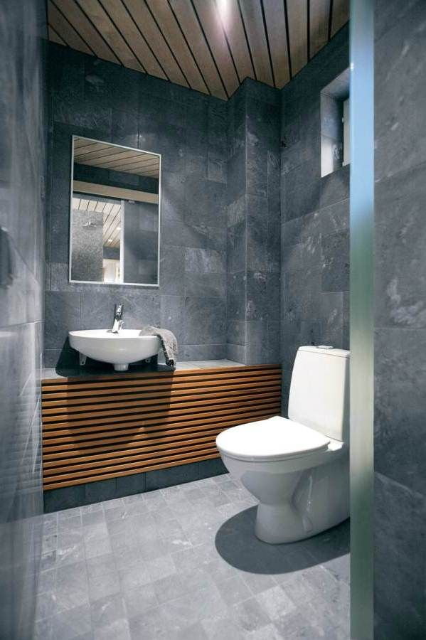 Smart Modern Bathroom Interior in Fully Grey and Stone