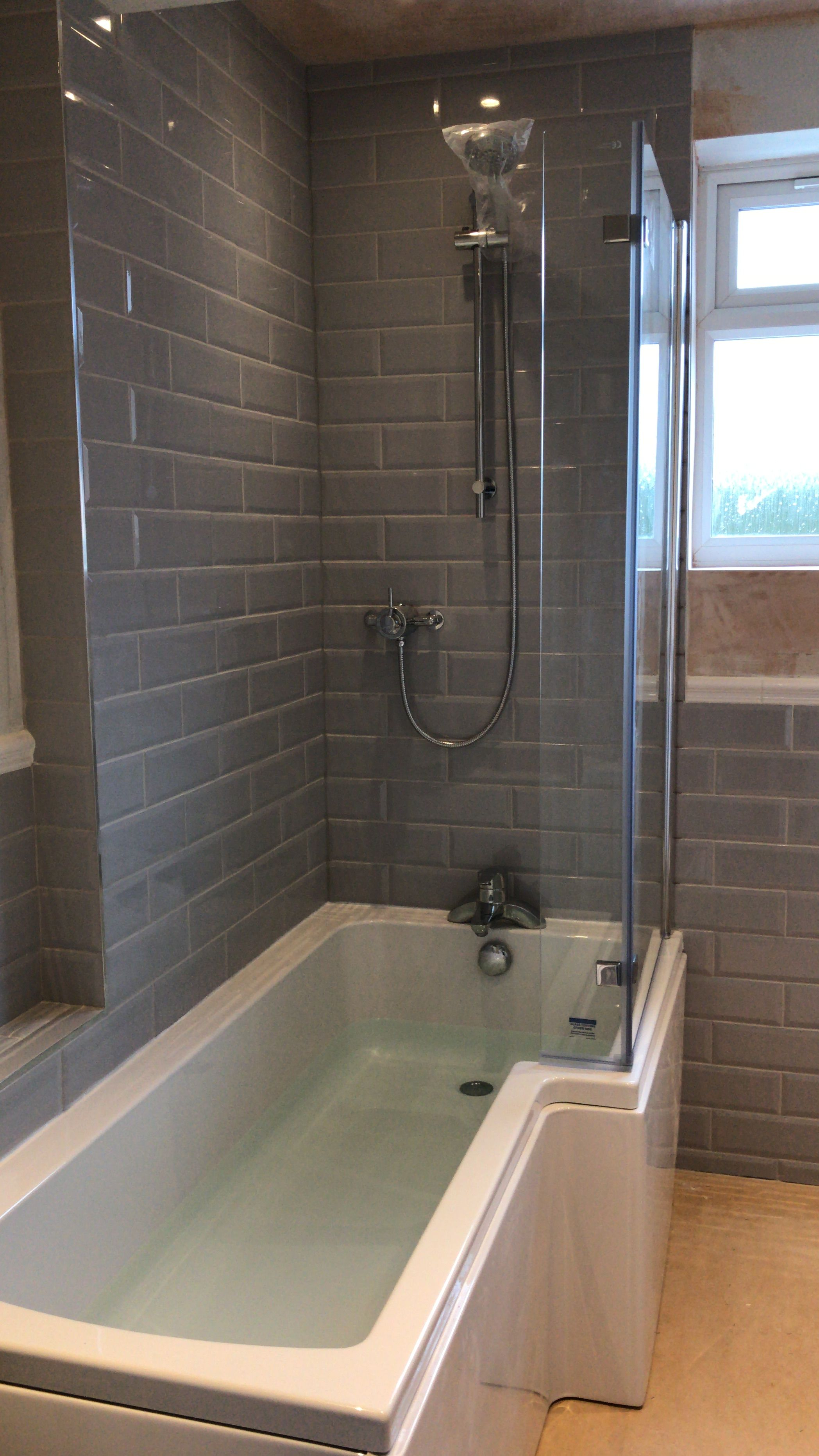 L Shaped Bath With Screen Grey Metro Subway Tiles Bathroom