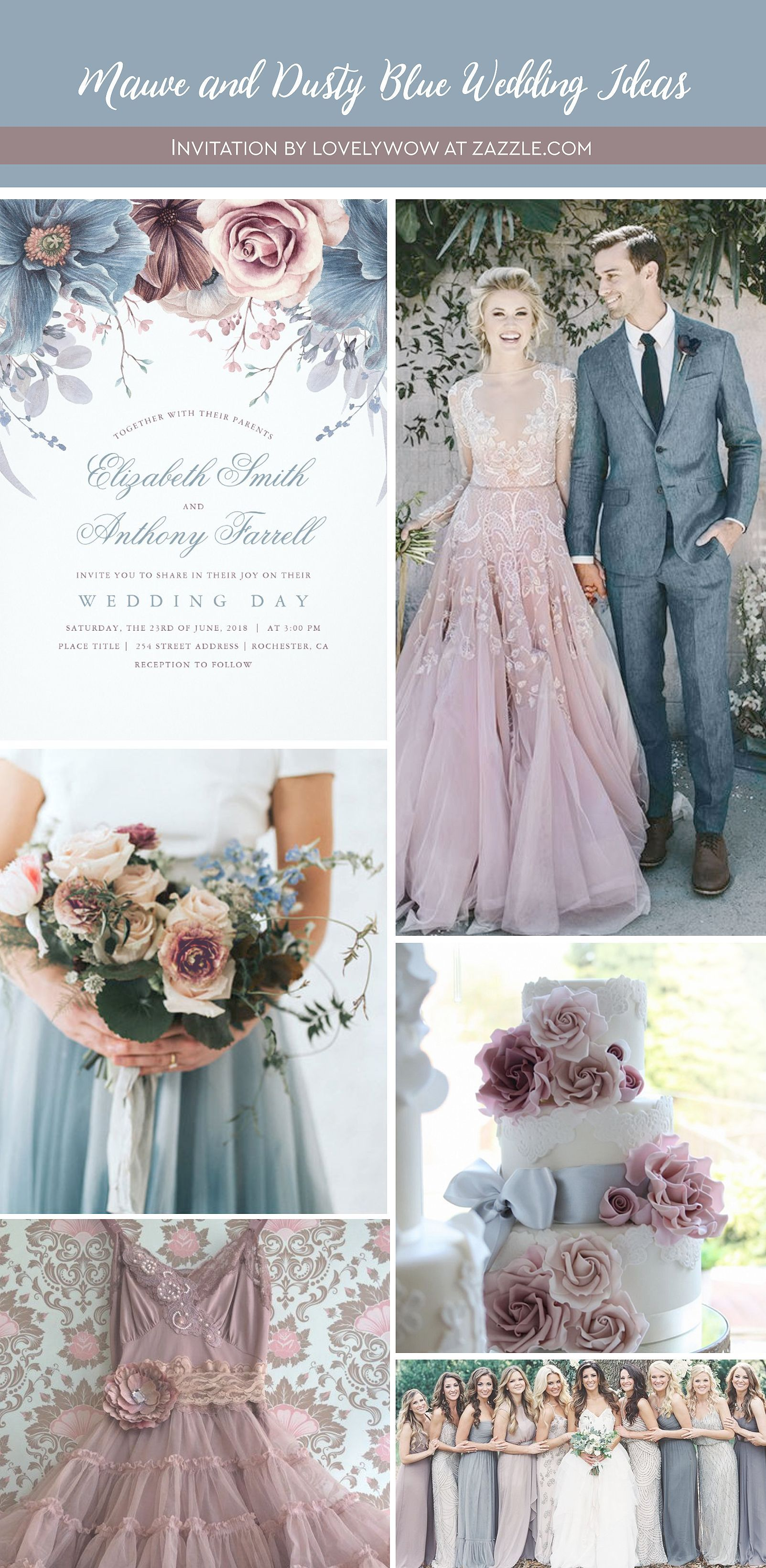 Wedding decorations using pallets october 2018 Dusty Blue and Mauve  Watercolor Floral Wedding Invitation in