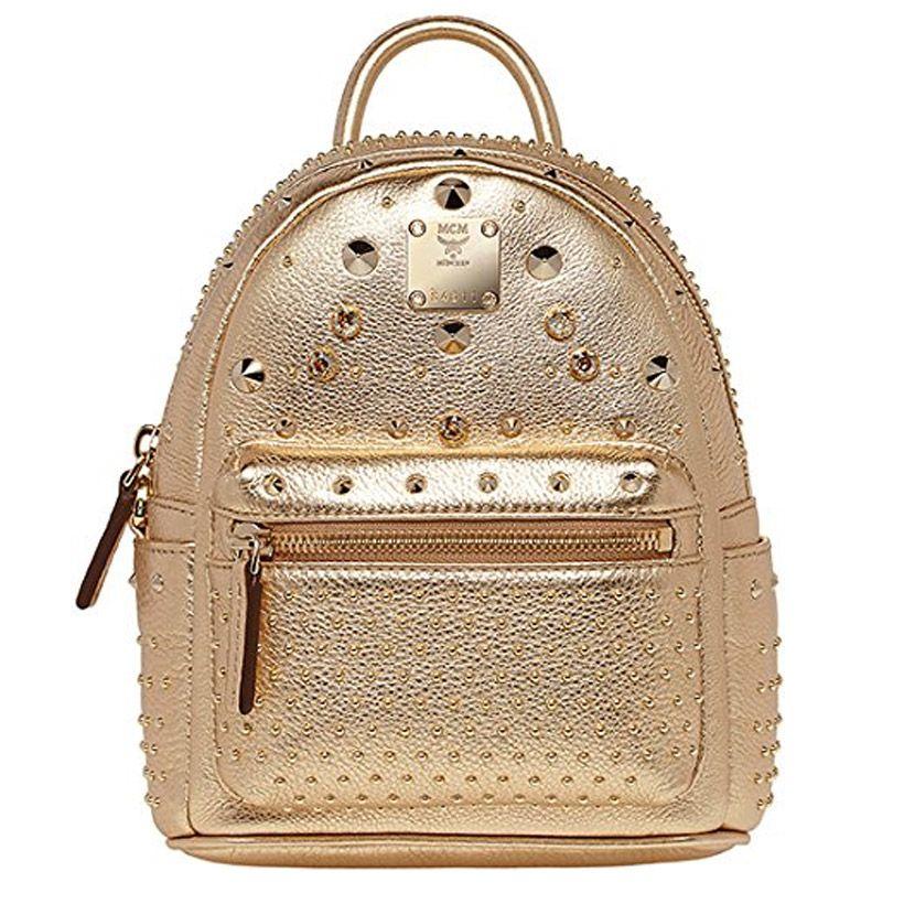 Mcm Designer designer backpacks mcm authentic stark swarovski gold backpack