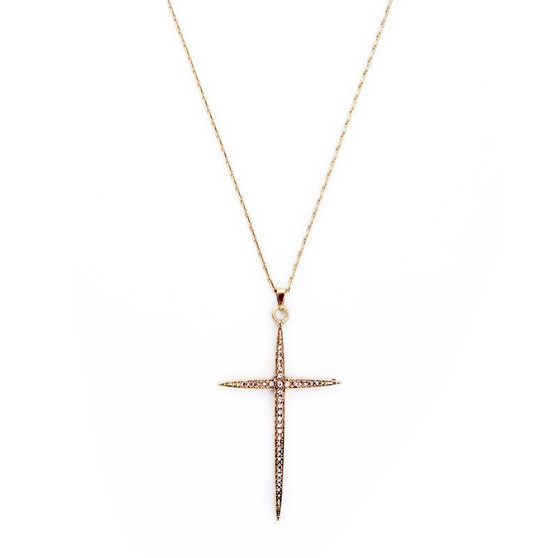 Hottest Kiss Me Inlay Rhinestone Gold Plated Cross Pendant Necklace for Women Jewelry Factory