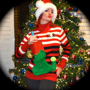 Large Wine Holder Ugly Christmas Sweater striped with elf stocking ...