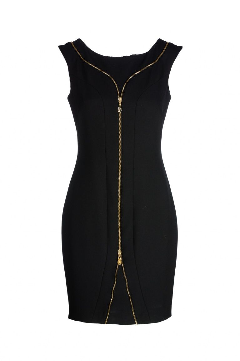 Black dress with golden zip Versace Collection TenXnb