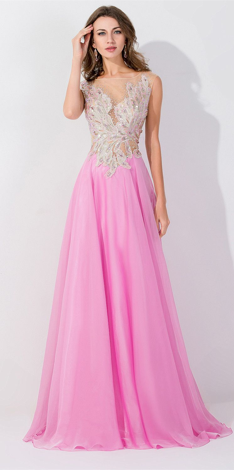 Bright Candy Pink Chiffon Long Evening Dress, Luxurious Feather ...