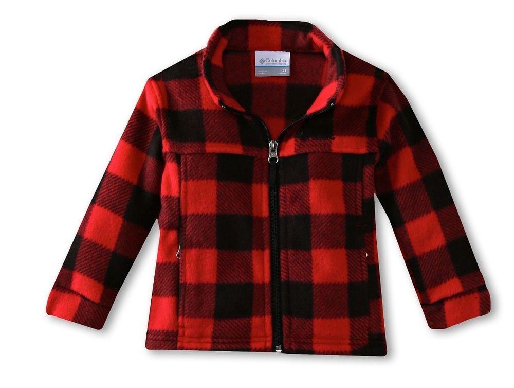 39cfa2652 New Toddler Boys Columbia Zing II Red Black Plaid Lumberjack Fleece Jacket  2T