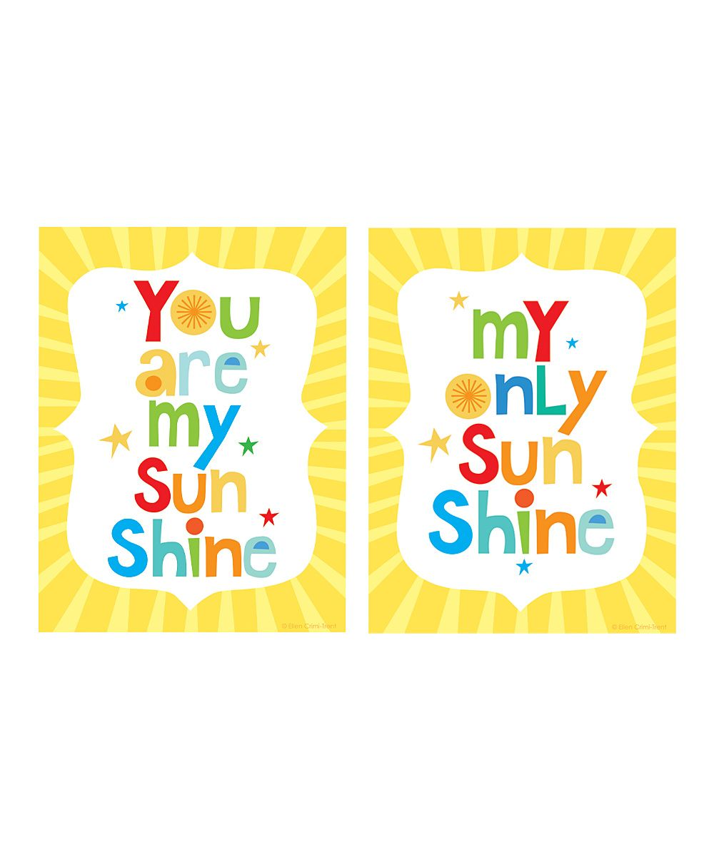 Yellow \'You Are My Sunshine\' Print Set | Daily deals for moms ...