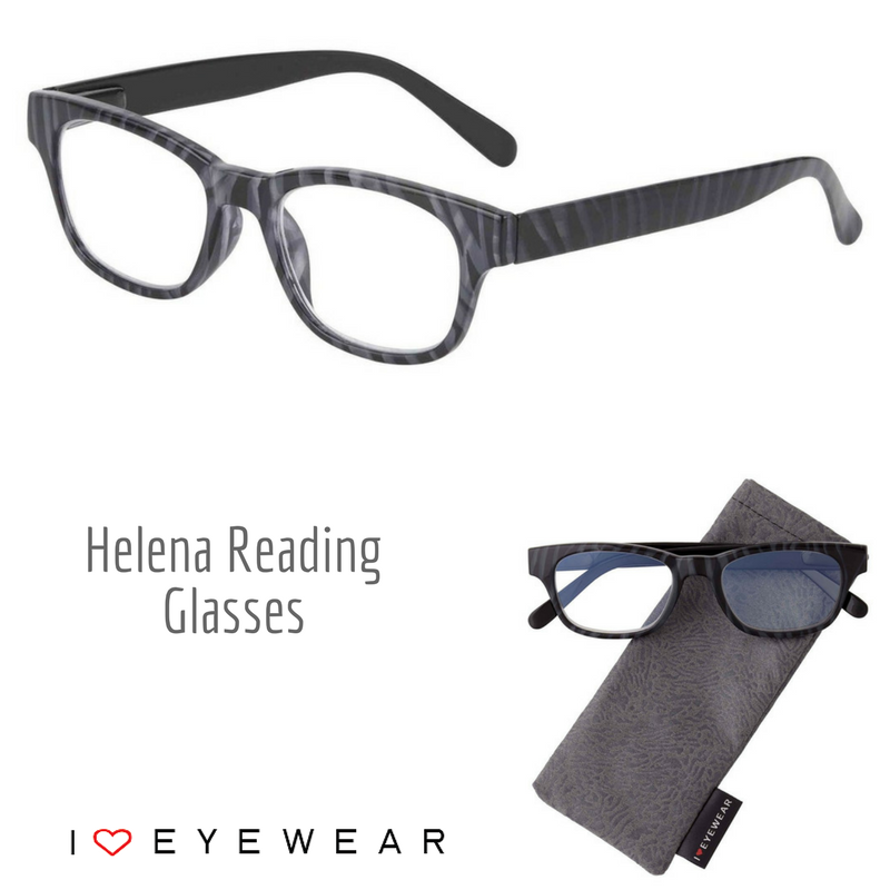 Meet our NEW Helena marbled reading glasses! Available in grey/black (as shown) and purple/black for just $20. Matching case included!