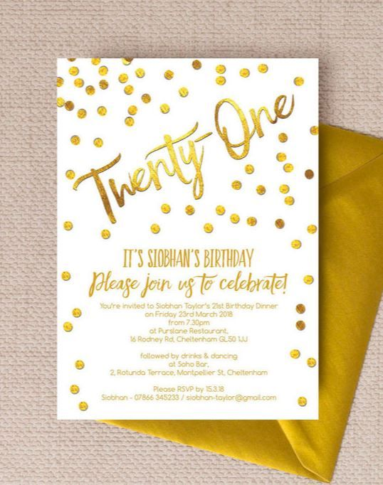 9 Of The Best Printable 21st Birthday Invitations Gold Calligraphy Confetti Invites