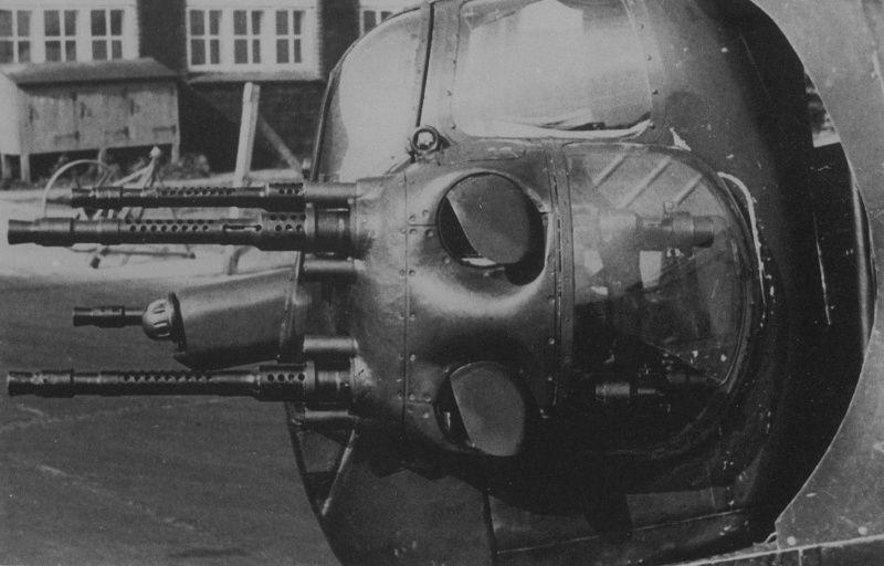 Tail defensive unit (four 13-mm machine gun MG 131) German high-altitude bomber Heinkel He.177A-7 «Greif»