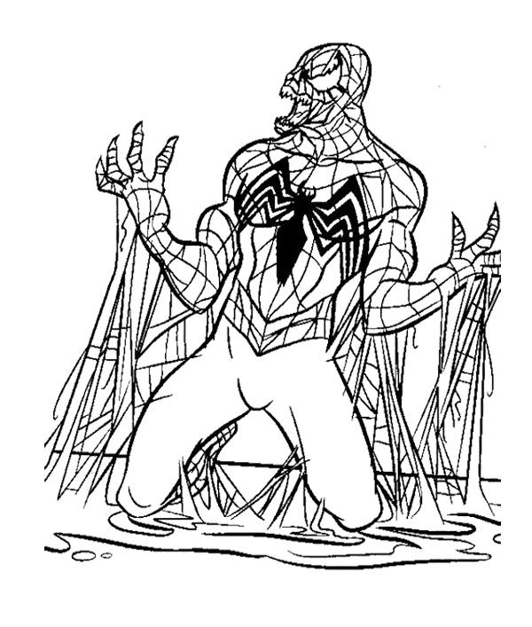 The Evil Black Spiderman Coloring Page (With images ...
