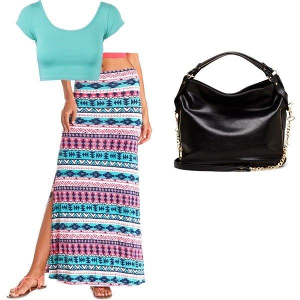 mint crop, pink/white/mint triabal maxi skirt, black purse, sandals