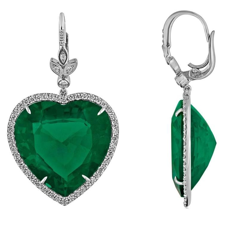 Large Emerald Diamond Gold Heart Shaped Earrings