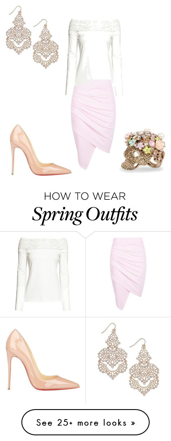 """Classic spring work outfit"" by tabetha-tyner on Polyvore featuring Boohoo, Christian Louboutin, Betsey Johnson and INC International Concepts"