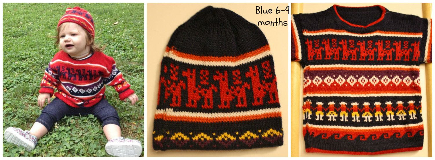 $30 Knitted Kids Alpaca Sweater and Hat,Fair Isle Baby sweater,Long Sleeve soft alpaca,6 months to 18 months,My Peruvian Treasures,Made in Peru by MyPeruvianTreasures on Etsy